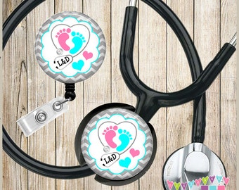 Labor and Delivery - Stethoscope - Baby Feet - Grey Chevron - COMBO Badge Reel & Stethoscope ID Name Tag