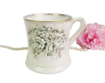 """Vintage Crown Devon Mug """"Glen"""" Pattern, Gold and Green Floral Mug, Made in England"""
