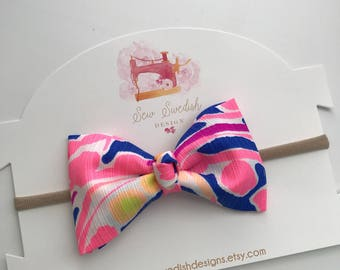 Lilly Pulitzer Bow // Baby Bow // Baby Headband // Girl Bow // Knotted Bow //  Catch and Release bow
