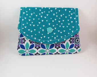 Womens Small Fabric Wallet, Fabric Wallet, Small Wallet, Blue Green Medallion Fabric Wallet, Credit Card Holder, Gift for Her Under 20