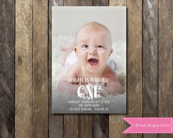 First Birthday Invitation, 1st Birthday Invitation, Modern First Birthday Invitation, Picture Invitation, ONE, Digital Printable Invitation