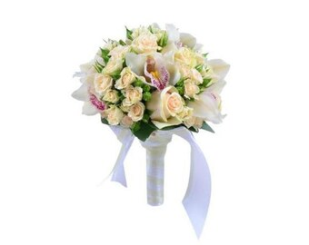 orchid and rose wedding bouquet, bridal accessories, flower bouquet, wedding ideas
