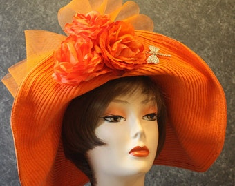 Orange Kentucky Derby Hat, Derby Hat, Garden Party Hat, Tea Party Hat, Easter Hat, Church Hat, Wedding Hat, Downton Abbey   Orange Hat 616