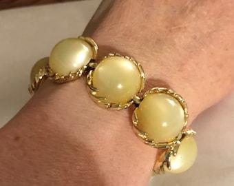 Vtg Coro Bracelet Yellow moonglow Thermoset