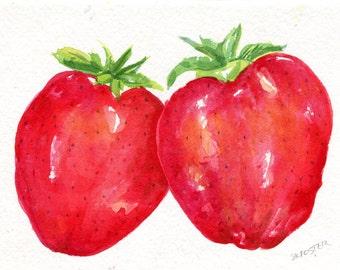 Strawberry Watercolor Painting  original ART, 5 x 7, Fruit, Farmhouse decor