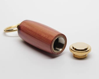 Wood Deluxe Pill Holder Key Chain - Eastern Red Cedar with 10K Gold Accents (Gift Ready)