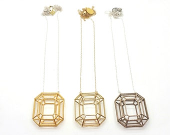 Faceted Emerald Necklace // 3D Printed Geometric Contemporary Jewelry // LanaBetty // Brass Steel Gold