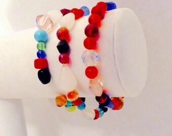 Colorful bracelets, Multicolor bracelets, Stretch bracelets, Three bracelets, JeriAielloartstore,made in America, hippy boho,bright  jewelry