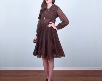 60's Dress / Mod Collar Brown & White Sheer Poet Sleeves Empire Waist Quilted Hippie / Medium