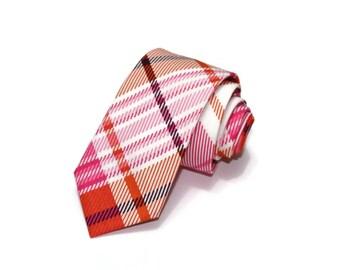 Pink Plaid Necktie~Cotton Necktie~Wedding Tie~Plaid Necktie~Mens Gift~Skinny Tie~Boys Necktie~Mens Necktie~Ashley Plaid~Orange Plaid