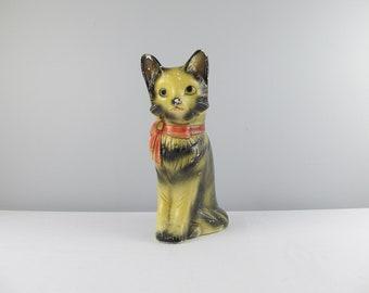 Vintage Cat Piggy Bank, chalkware cat bank, Cat lover gift, cats money box, break or shake