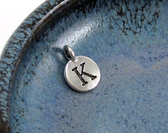 """NEW TierraCast Silver Letter """"K"""" Disk Charm *YOU Collection*"""