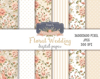 SALE Beige Digital Paper, Wedding paper, Digital Scrapbooking, Floral Wedding papers, floral beige paper pack
