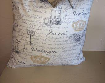 French postcard pillow cover, cream, black writing fabric,accent pillow, throw pillow, decorative pillow , sofa pillow , cushion cover.