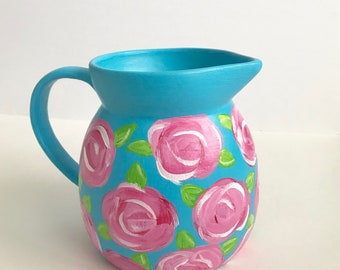 Lilly pulitzer inspired, pitcher centerpiece, blue, pink, floral