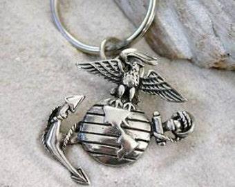 Pewter Marine Corps Emblem USMC Semper Fi Keychain Key Ring (38E-KC)
