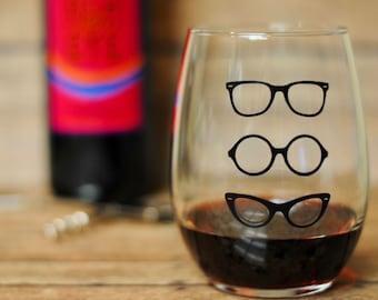 Eyeglasses Stemless Wine Glass