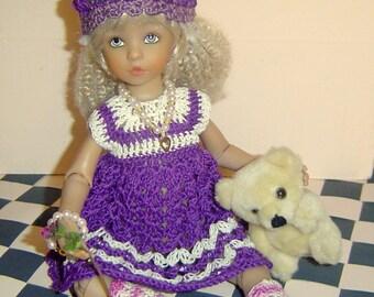 """0048 Reversible 6PC Dress Set Digital Download PDF Crochet Pattern little darling dolls 13"""""""