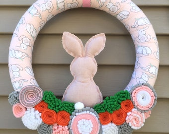 Easter Wreath - Spring Wreath - Bunny Wreath - Bunny Decor - Spring Decor - Easter Decor - Easter Door Decor -Felt Flower Wreath-Yarn Wreath