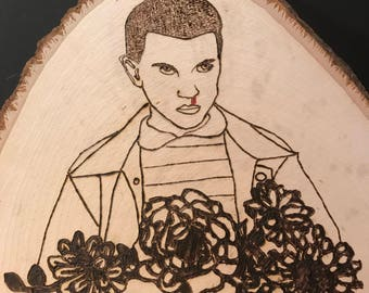 """Strager Things """"eleven"""" wood burned wall art"""