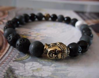 Spring bracelet Shamballa men, Buddha, and black tones gemstones