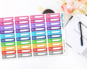 Small Bill Due Boxes - Planner Stickers