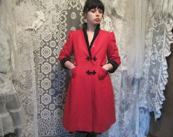 80s Bright Red Wool Princess Coat Black Faux Persian Lamb Fur Rothschild 70s Frog Clasp High Collar Pleated Puff Sleeve Holiday Long ILGWU