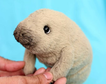 Realistic Manatee OOAK artist collectible stuffed teddy bear handmade toy cute realistic teddybear gift valentine's day (made to order)