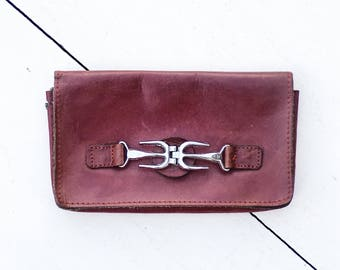 40% Off SALE Vintage Oxblood Leather Wallet   Midcentury Coin Purse   Mini Hand Bag