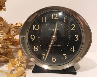 Vintage Black Baby Ben Alarm Clock...Metal. Silver. Westclox. USA. Old. Retro. Wind-up. Small. Alarm. Chime. Prop. Luminous. Nickel. Round.