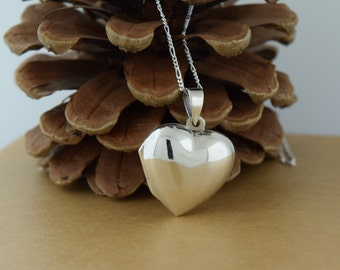 Sterling Silver Solid Heart Locket Includes Chain
