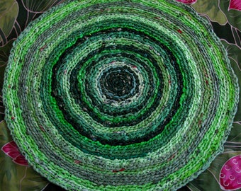 "Green ""green"" recycled crochet plastic bags rug, Upcycled designer area rug, Recycled Eco friendly designer rug"