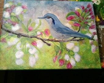Blue bird original art acrylic painting 11x14