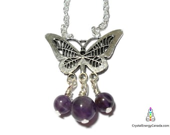 Butterfly necklace, amethyst necklace, amethyst butterfly, butterfly pendant, charm necklace, Crystal Energy Canada, chakra necklace