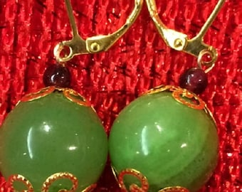 Earrings - Serpentine or New Jade with Lever back closure