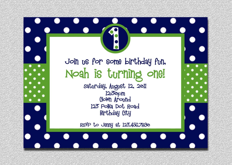 1st birthday polka dot invitation green and blue birthday zoom stopboris Image collections