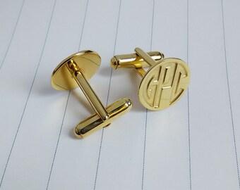 Engraved Monogram CuffLinks,Gold Monogram CuffLinks,Groom Wedding Gift,Wedding Cufflinks,Gift for Fathers Day