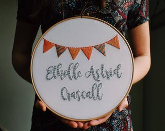 Children's Name Personalised Bunting Nursery Children's Bedroom Home Decor Gift Embroidery Hoop