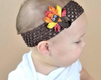 Sculpted Turkey Hair Clip - Turkey Headband - Thanksgiving Hair Bow , Clip Or Headband