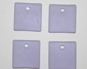 Lavender Purple Sea Glass, 2 pieces, 22mm,  Bottle Curved Large Square