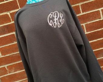 Ladies Monogrammed sweatshirt , personalized sweatshirt ,  CHARCOAL crew neck sweatshirt , embroidered ladies sweatshirt, womans sweatshirt