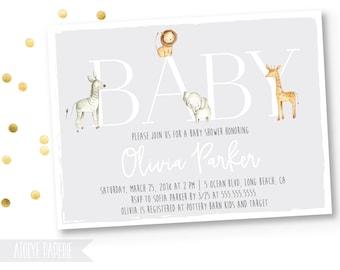 Safari Baby Shower Invitation, Jungle Baby Shower Invitation, Baby Boy Shower,Safari Animals,Gender Neutral,Elephant, Lion, zebra, Whimsical