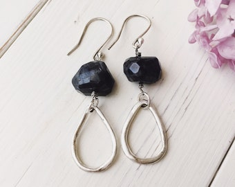 handcrafted silver and raw blue kyanite earrings, silver hoop earrings, kyanite earrings, raw stone earrings, organic silver earrings