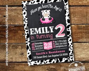 Moos & Tutus cow birthday bash invitation ballerina cow pink girl party digital printable invitation you print 14404