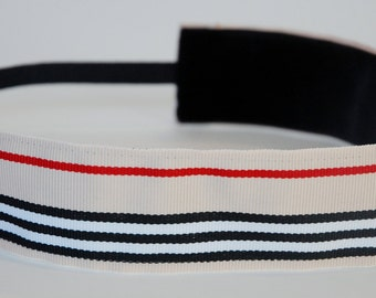 Non-Slip Headband - Tan, Red, White and Black Stripes - THICK size