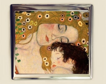Gustav Klimt Mother & Child Cigarette Case Business Card ID Holder Fine Art Painting Art Nouveau