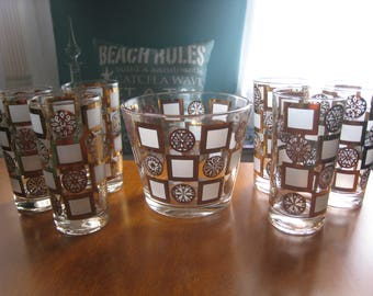 Vintage Culver Carnival 22 KT Gold 6 High Ball Glasses and Ice Bucket Set