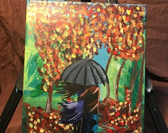 Rainy Fall Day *original painting* 10x8