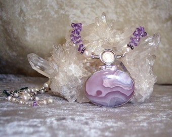 DREAMSCAPE - OOAK Necklace in Agua Nueva Agate, Pearl, Rose Quartz, Pink Amethyst, Lab. Opal, and Sterling Silver