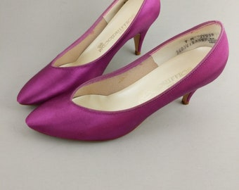 Vintage Colorifics Pumps Purple Satin High Heel Shoes Women's Size 9 Dress Up Vintage 80s